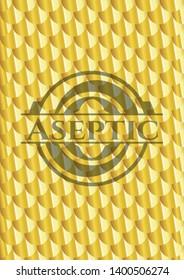 Aseptic gold emblem. Scales pattern. Vector Illustration. Detailed.