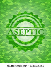 Aseptic green emblem with mosaic background