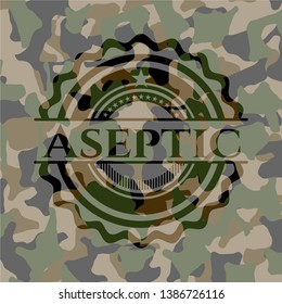 Aseptic on camo pattern. Vector Illustration. Detailed.