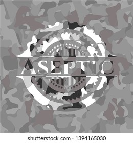 Aseptic on grey camouflage pattern