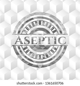 Aseptic realistic grey emblem with geometric cube white background