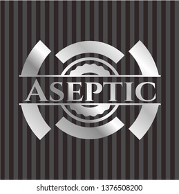 Aseptic silver shiny badge