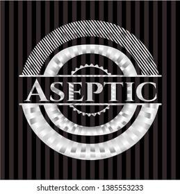 Aseptic silver shiny badge. Vector Illustration. Mosaic.