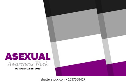 Asexual Awareness Week. International campaign to educate individuals about asexual. Celebrated annual in October. Asexual color flag. Poster, card, banner and background. Vector illustration