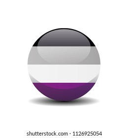 Asexual Circle Button Flag. LGBT 3D, Vector, Illustration, Symbol.