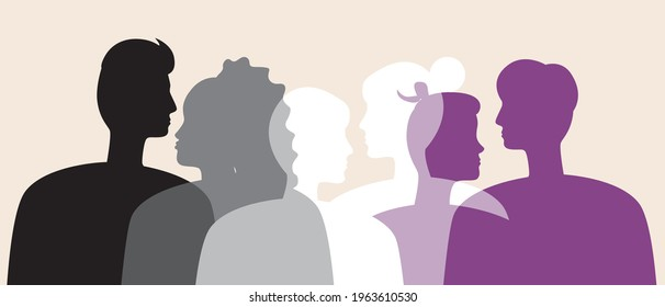 Asexual people in the color of the asexual flag. Silhouette vector stock illustration. Asexuals as an LGBTQ community. No sex. People's faces in profile. Isolated illustration