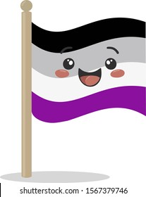 Asexual pride flag. Equality flag. Symbol of asexual. LGBT movement  - Sexual Minorities.