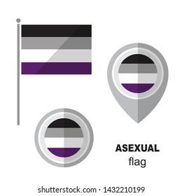 Asexual pride flag and map pointer. Gay pride symbol. Design element for banner, poster or leaflet. Flat design.