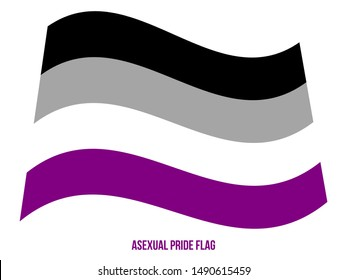 Asexual Pride Flag Waving Vector Illustration Designed with Correct Color Scheme. Symbol of Asexual Community.