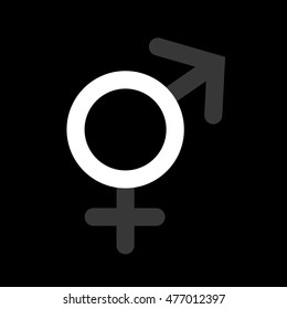 Asexuality or Intersex - dark and dull symbols of male and female gender create white empty round - symbol of lack of sex drive towards men and women or inability to define sex