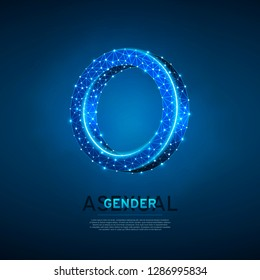 Asexuality or Intersex people symbols. Wireframe digital 3d illustration. Low poly men and women asexuality concept on blue background. Abstract Vector polygonal neon LGBT sign. RGB color mode