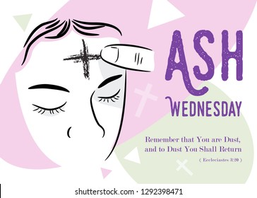 Ash Wednesday abstract symbolic religious Christian symbol for the beginning of Lent, with cross of ashes