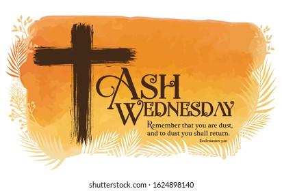 Ash Wednesday poster vector illustration