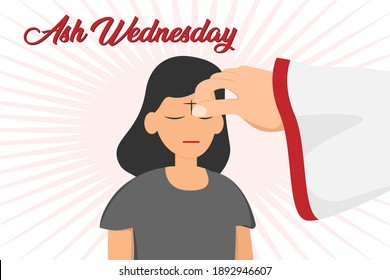 Ash wednesday vector concept. Pastor hand giving ash cross mark on the woman forehead
