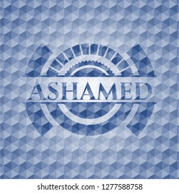 Ashamed blue emblem or badge with abstract geometric polygonal pattern background.