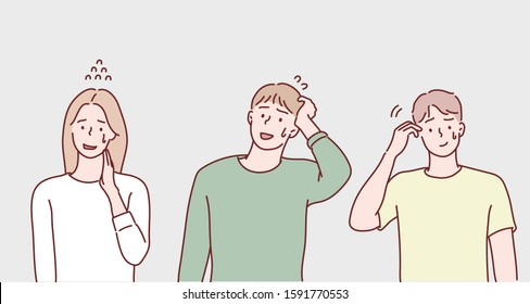 Ashamed or embarrassed people. Hand drawn style vector design illustrations.