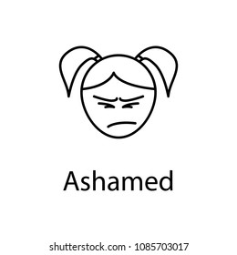 ashamed girl face icon. Element of emotions for mobile concept and web apps illustration. Thin line icon for website design and development, app development. Premium icon on white background