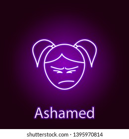 ashamed girl face icon in neon style. Element of emotions for mobile concept and web apps illustration. Signs and symbols can be used for web, logo, mobile app, UI, UX