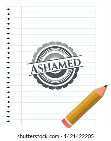 Ashamed with pencil strokes. Vector Illustration. Detailed.