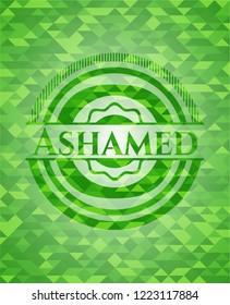 Ashamed realistic green mosaic emblem
