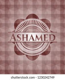 Ashamed red geometric emblem. Seamless.
