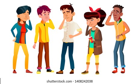 Ashamed Teenagers With Gesture Facepalm Set Vector. Collection Of Mulicultural Character Young People With Facepalm. Depression, Headache, Disappointment Or Shame Flat Cartoon Illustration