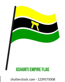 Ashanti Empire Flag Waving Vector Illustration on White Background. Historical Flag. Kingdom of Ashanti in what is now modern-day Ghana from 1670 to 1957.