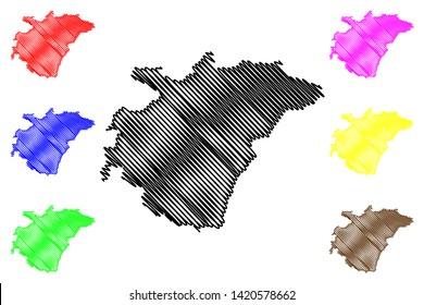 Ashanti Region (Administrative divisions of Ghana, Republic of Ghana) map vector illustration, scribble sketch Ashanti map
