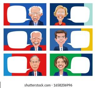 Asheville, NC. February 27, 2020. Cartoons of six Democratic candidates for Presidential election. Elizabeth Warren, Bernie Sanders, Pete Buttigieg, Joe Biden, Amy Klobuchar, Mike Bloomberg.