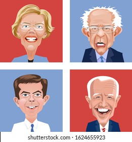 Asheville, NC. January 23, 2020. Cartoon heads of four Democratic candidates for United States Presidential election in November 2020. Elizabeth Warren, Bernie Sanders, Pete Buttigieg and Joe Biden.