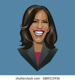 Asheville NC, January 8, 2021. Caricature portrait of Kamala Harris, first female and first black vice president of the United States. Vector Illustration.