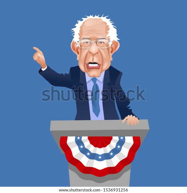 Asheville NC, October 20, 2019. Caricature of Bernie Sanders, speaking and gesturing. Democratic presidential candidate  in the 2020 United States presidential election. Vector Illustration.