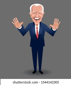 Asheville NC, October 28, 2019. Caricature of Joe Biden, speaking and gesturing. Democratic presidential candidate  in the 2020 United States presidential election. Vector Illustration.