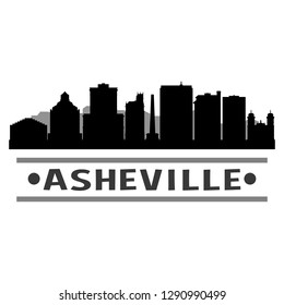 Asheville North Carolina. City Skyline. Silhouette City. Design Vector. Famous Monuments.