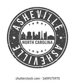 Asheville North Carolina Skyline. Round Postmark Icon City Design. Vector Landmark Travel.