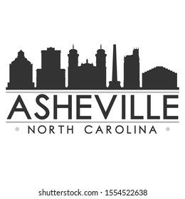 Asheville North Carolina Skyline Silhouette City. Cityscape Design Vector. Famous Monuments Tourism.