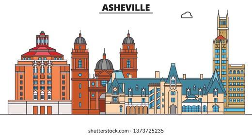 Asheville,United States, flat landmarks vector illustration. Asheville line city with famous travel sights, design skyline.