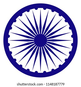 Ashoka Chakra for India - Blue wheel called Ashoka Chakra from flag of India isolated on white background