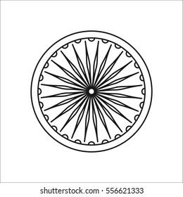 Ashoka Chakra symbol sign line icon on background