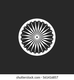 Ashoka Chakra symbol sign silhouette icon on background