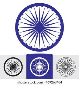 Ashoka wheel with 24 spokes. Indian symbol. Vector eps8 sign.