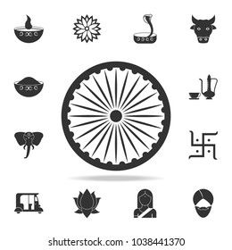 Ashoka Wheel Indian symbol icon. Detailed set of Indian Culture icons. Premium quality graphic design. One of the collection icons for websites, web design, mobile app on white background