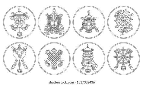 Ashtamangala. Eight auspicious symbols of Buddhism