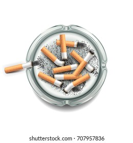 Ashtray with cigarettes isolated on white photo-realistic vector illustration