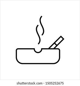 Ashtray Icon, Cigarette Ashtray Vector Art Illustration