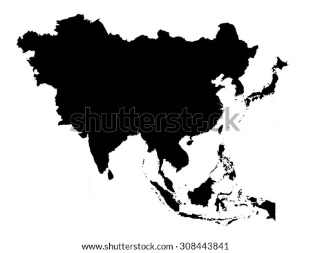 Asia Black Silhouette Map Stock Vector (Royalty Free) 308443841