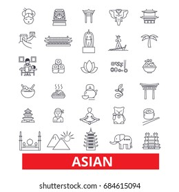 Asia, chinese people, indian, japanese culture, asian couple line icons. Editable strokes