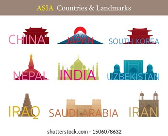 Asia Countries Landmarks with Text or Word, Famous Place and Historical Buildings, Travel and Tourist Attraction