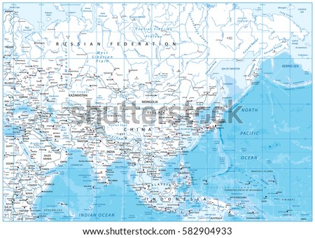 Asia Map With Rivers.Asia Detailed Map Rivers Lakes Elevations Stock Vector Royalty Free