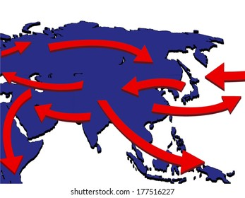 Asia Expansion Market Trade Routes Business Map 3D